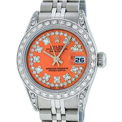 Rolex Ladies Stainless Steel 26MM Orange String Diamond Lugs Datejust Wristwatch
