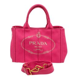 Prada Pink Canvas Small Canapa Tote Bag