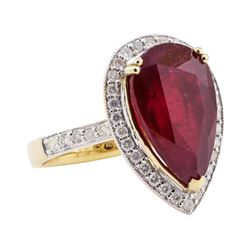 9.24 ctw Ruby and Diamond Ring - 14KT Yellow Gold