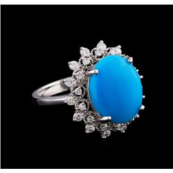 5.16 ctw Turquoise and Diamond Ring - 14KT White Gold