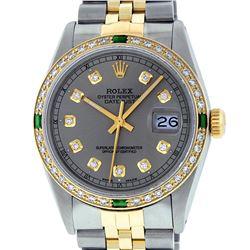 Rolex Mens 2 Tone 14K Slate Grey & Emerald Diamond Datejust Wriswatch