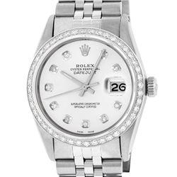 Rolex Mens Stainless Steel Silver Diamond 36MM Datejust Wristwatch