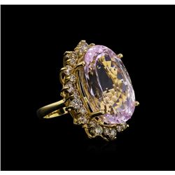 14KT Yellow Gold GIA Certified 37.12 ctw Kunzite and Diamond Ring