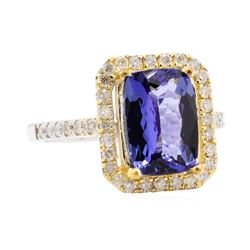 3.31 ctw Tanzanite and Diamond Ring - 14KT White Gold