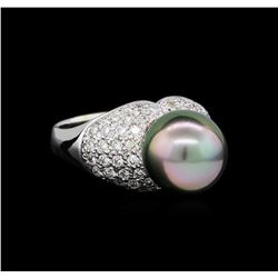 0.87 ctw Pearl and Diamond Ring - 14KT White Gold