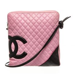 Chanel Pink Quilted Calfskin Leather Cambon Ligne Large Messenger Bag