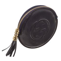 Gucci Blue Patent Leather Soho Round Coin Purse Wallet