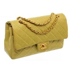 Chanel Light Green Quilted Lambskin Leather Classic Double Flap Bag