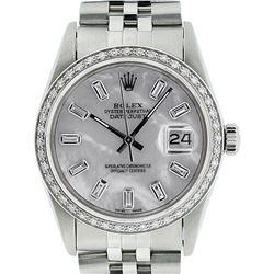 Rolex Mens Stainless Steel MOP Baguette Diamond 36MM Datejust Wristwatch
