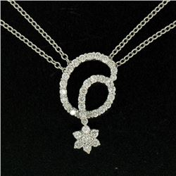 18K White Gold 1.15 ctw F VS2 Diamond Cluster Star Double Cable Chain Necklace