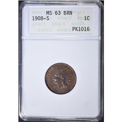 1908-S INDIAN CENT ANACS MS-63 BN