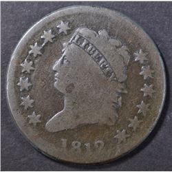 1812 LARGE CENT, AG/G scratches rev