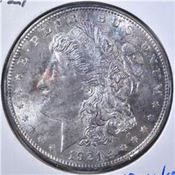 1921 MORGAN DOLLAR  GEM BU  TONED