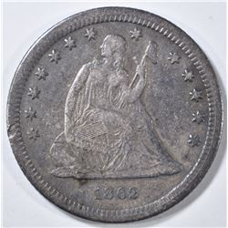 1862-S SEATED LIBERTY QUARTER   XF