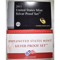 2009 & 2011 U.S. SILVER PROOF SETS ORIG PACKAGING