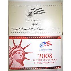 2007 & 2008 U.S. SILVER PROOF SETS ORIG PACKAGING