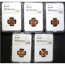 5 - 1975 LINCOLN CENT NGC MS66RD