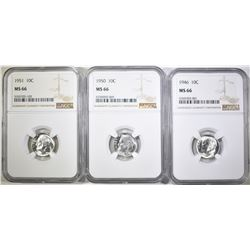 1946, 50 & 51 ROOSEVELT DIMES, NGC MS-66