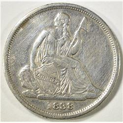 1838-O SEATED LIBERTY DIME   XF SMALL HIT REV