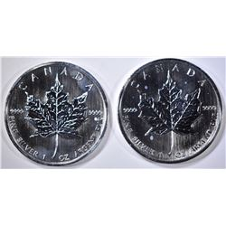 2 2007 $5 CANADA PROOF 1 OZ SILVER COINS