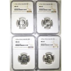 4-1976-S SILVER WASHINGTION QUARTERS, NGC MS-65