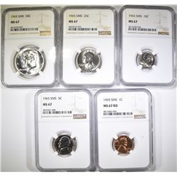 NGC GRADED 1965 SMS SET, MS-67