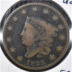 1828 MATRON HEAD LARGE CENT, FINE