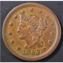 1853 LARGE CENT AU RIM BUMP REV