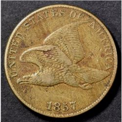 1857 FLYING EAGLE CENT, XF/AU