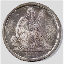 1837 NO STARS SEATED LIBERTY DIME VF/XF