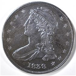 1838 REEDED EDGE AU+ HALF DOLLAR