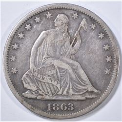 1863-S LIBERTY SEATED HALF DOLLAR XF