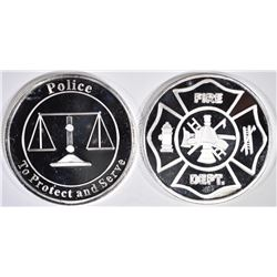 POLICE & FIRE DEPT. ONE OUNCE .999 SILVER ROUNDS