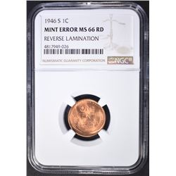 1946-S LINCOLN CENT MINT ERROR, NGC MS-66 RED
