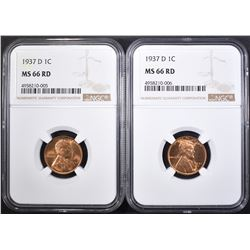 2 1937-D LINCOLN CENTS NGC MS-66 RD