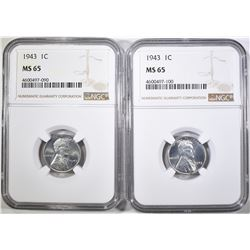 2 1943 LINCOLN CENTS NGC MS-65