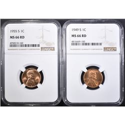 1949-S & 55-S LINCOLN CENTS NGC MS-66 RD