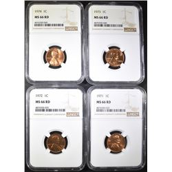 1971, 72, 73, 74 LINCOLN CENTS NGC MS-66 RD
