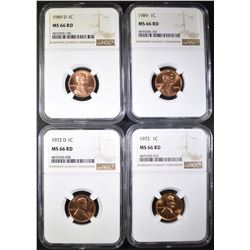 1972-P,D & 89-P,D LINCOLN CENTS NGC MS-66 RD