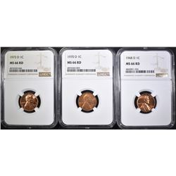 1968-D, 70-D & 73-D LINCOLN CENTS, NGC MS-66 RED