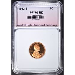 1982-S LINCOLN CENT, WHSG PERFECT GEM PF RED DCAM