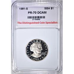 1981-S SBA DOLLAR, TDCS PERFECT GEM PROOF DCAM