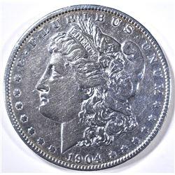 1904-S MORGAN DOLLAR AU CLEANED