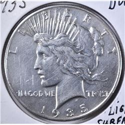 1935 PEACE DOLLAR, BU light surface scratches
