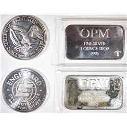 4-ONE OUNCE .999 SILVER PIECES