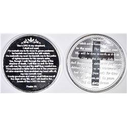 LORD'S PRAYER & PSALMS 23 1-Oz .999 SILVER ROUNDS