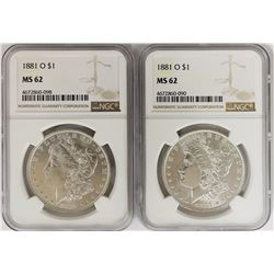 (2) 1881-O MORGAN SILVER DOLLARS