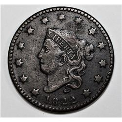 1822 LARGE CENT N-S VF+