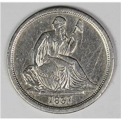1837 NO STARS SEATED DIME