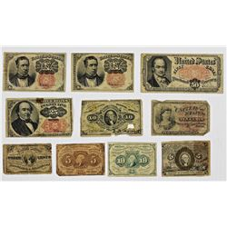 TEN PIECES CIRC FRACTIONAL CURRENCY